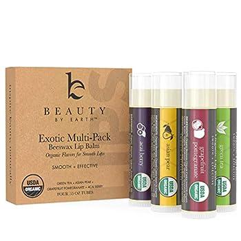 Organic Lip Balm Flavor Pack - 4 Tubes of Natural Lip Balm Lip Moisturizer Lip Treatment for Dry Lips Lip Care Gifts for Women or Men Lip Repair Organic Chapstick for Soft Lips