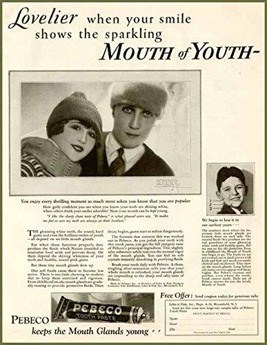 DEMEYER Fashion Photo in 1927 PEBECO Toothpaste AD Original Paper Ephemera Authentic Vintage Print Magazine Ad/Article