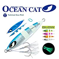 OCEAN CAT Deep Water Fast/Slow Sea Metal Lead Jig Jigging Fishing Lures Baits Tackle 60g/100g/150g/200g/250g 240lb (Blue & Silver, 60g)