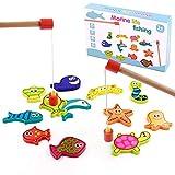TONZE Juguetes de Madera Juego Pescar Peces Magneticos-Juegos de Mesa para Niños Bloques Magneticos Juguetes Montessori...