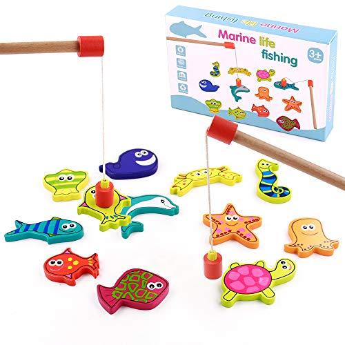 TONZE Juguetes de Madera Juego Pescar Peces Magneticos-Juegos de Mesa para Niños Bloques Magneticos Juguetes Montessori 15 Piezas,Juegos Educativos Navidad Regalos Juguetes Niños Niña 3 4 5 6 Años