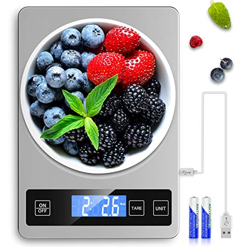 Mik-Nana Food Scale, 5KG/11lb Digital Kitchen Scale Weight Grams and Oz for Baking and Cooking, 5 Units Weight, 1g/0.1oz Precise Graduation, USB Rechargeable