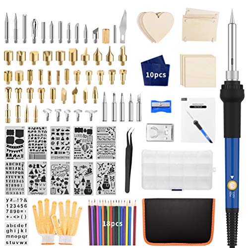 Wood Burning Kit, 113PCS Wood Burning Tool with Soldering Iron, Professional Adjustable Temperature Woodburning Tool for Embossing Carving Soldering Tips