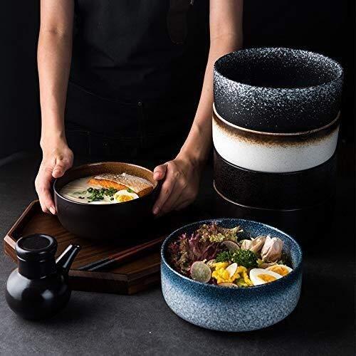 Tazón de cerámica estilo japonés para sopa lateral para el hogar, cuenco de sopa, vajilla de cerámica, cuenco creativo retro, para desayuno, ensalada de frutas (color: mocha, tamaño: 8 pulgadas)