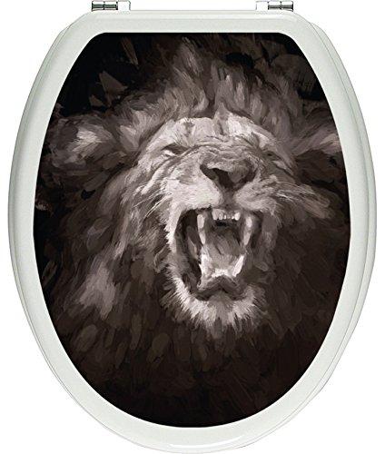 Pixxprint Brüllender Löwe Schwarz/Weiß als Toilettendeckel Aufkleber, WC, Klodeckel - Maße: 32x40 cm, Gläzendes Material Toilettendeckelaufkleber, Vinyl, bunt, 40 x 32 x 0.02 cm