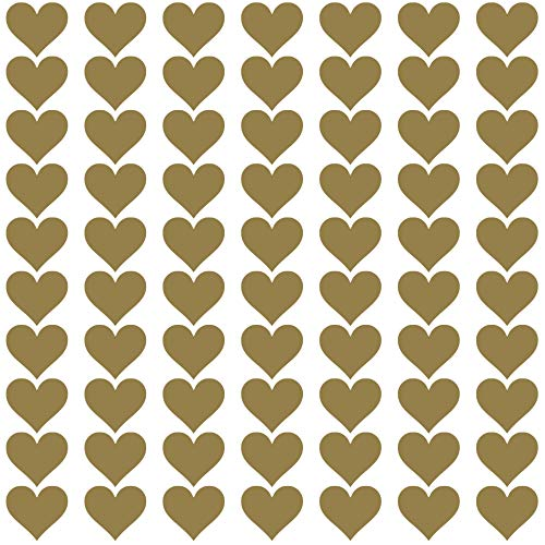 PREMYO 70 Herzen Wandsticker Kinderzimmer Mädchen Jungen - Wandtattoo - Wandaufkleber Selbstklebend Gold