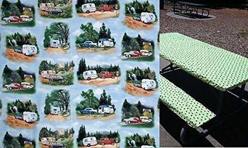 Custom Stay Put Fitted Tablecloth Table Cover for a 6 Ft Picnic Table 3 Piece, Table and 2 bench set. Trailer Travel RV Camper and Tent Camping