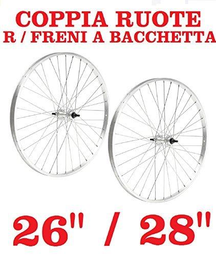 """Coppia Ruota Ruote Anteriore + Posteriore Bici R BACCHETTA - 26"""" / 28"""" x 1 - 5/8 (28"""" x 1 5/8)"""