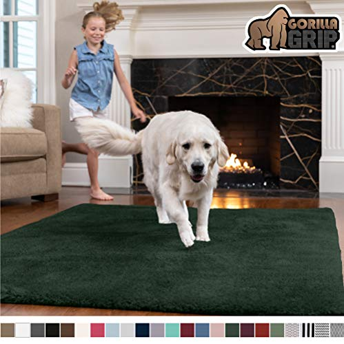 Gorilla Grip Original Faux-Chinchilla Runner Rug, 2x8 Feet, Super Soft and Cozy High Pile Washable Carpet, Modern Rugs for Floor, Luxury Shag Carpets for Home, Nursery, and Living Room, Hunter Green