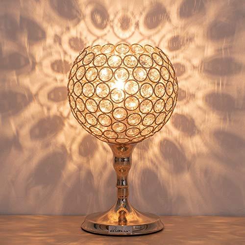 HAITRAL Kristall-Tischlampe, runde Kristall-Nachtlampe mit einzigartigem Lampenschirm, silberne Schreibtischlampen für Wohnzimmer, Schlafzimmer, Esszimmer, Kommode, Büro, Küche