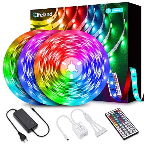 Tira LED 12M, Elfeland Tiras de Luces LED 5050 RGB Control Remoto de 44 Teclas 360 Tira LED 20 Colores 8 Modos 6 Opciones DIY 12V 5A Cinta LED Multicolor para Hagar Dormitorio Fiesta Boda Bar (3x4M)