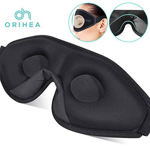 Sleep Mask for Women & Men, OriHea Upgraded 3D Contoured Eye Mask for Sleeping, Ultra Soft Breathable Sleep Eye Mask, 100% Blackout Eye Shades Blindfold for Complete Darkness