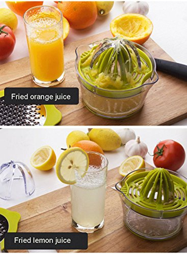 Drizom Citrus Lemon Orange Juicer Manual Hand Squeezer with Built-in Measuring Cup and Grater, 12OZ, Green |
