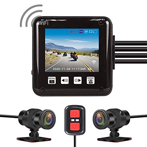 VSYSTO All Waterproof, 160 Degree Fish Eye, Motorcycle Dash Cam Recording Camera DVR, with 2'' Screen, IMX307, Dual 1920x 1080P Front and Rear Camera Driving Recorder for Motorcycle, Bike