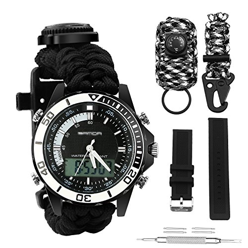 BlueStraw Digital Survival Watch Wasserdicht Emergency Military Digital Dual Dial Sportuhr mit 3 Multifunktions Austauschbare Survival Armband Armband