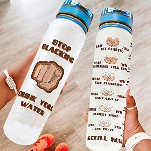 DOGCATPIG Mochilero botellas de agua Dedo Stop Slacking Beber Tu Agua Flip Top Bebiendo taza para Fitness blanco 1000ml