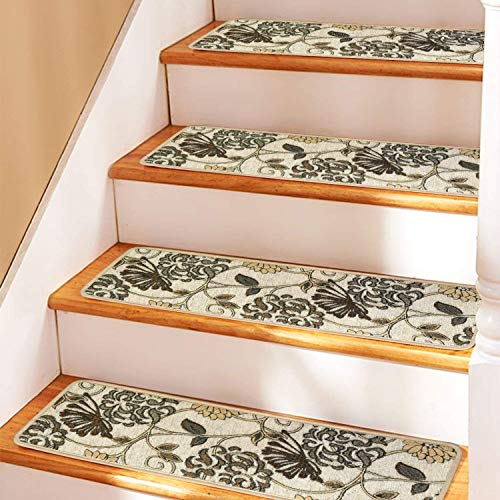 """Seloom Indoor Non-Slip Stair Treads Carpet with Skid Resistant Rubber Backing, Specialized for Wooden Steps, 30""""x8"""",Beige"""