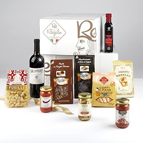 RE REGALO ITALIA IN TAVOLA Cesto Alimentare Kit 10 pezzi, Sugo all'arrabbiata, Taralli di Puglia,...