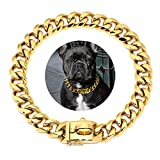 Didog Gold Dog Chain Collar,Metal Choke 19mm Collar with Design Secure Buckle, Stainless Steel 18K Cuban Link for Small Medium Large Dogs Walking Training,17