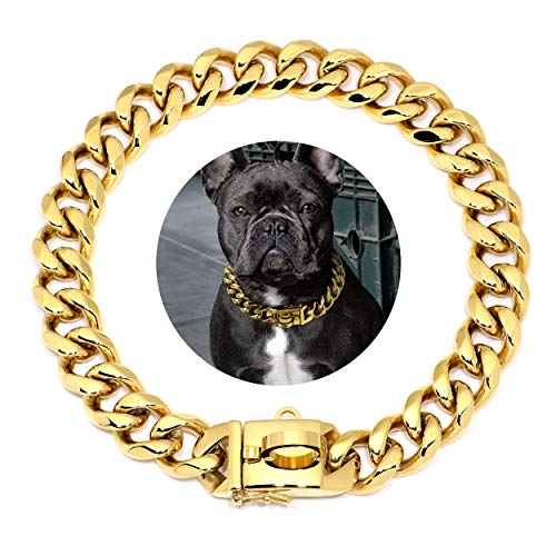 Didog Gold Dog Chain Collar,Metal Choke 19mm Collar with Design Secure Buckle, Stainless Steel 18K Cuban Link for Small Medium Large Dogs Walking Training,17'