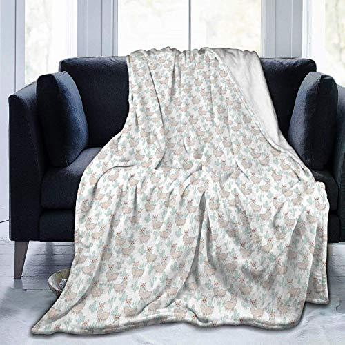 Manta mullida, de dibujos animados de llamas con bufanda y cactus, súper suave, manta de forro polar, manta para bebé, dormitorio, cama, TV, manta de 80 x 60 pulgadas