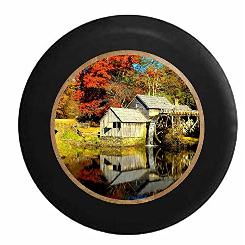 Niet van toepassing Wiel Tire Cover Oude Molen Water Wheel Het Land Duurzame Kleurrijke Waterdichte Printing Tire Diameter Universele 4 Maten Wiel Tire Cover Fit Jeep Rv Suv Trailer 17in/80~83cm 1 exemplaar