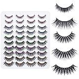 20 Pairs 3D Natural False Eyelashes, Dramatic Wispy Volume Faux Mink Lashes, Fluffy Luxury Mink Eyelashes Faux, Soft Band Handmade Fake Eyelashes (5 Styles Mixed)