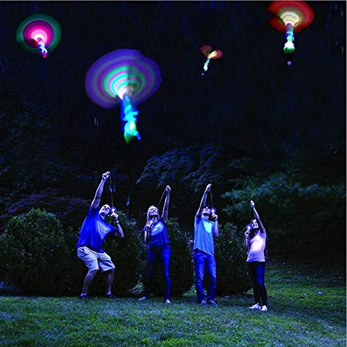 Habelyi 50pcs Amazing Led Light Arrow Rocket Helicopter Flying Toy Party Fun Gift Elastic Slingshot Flying Copters Summer Outdoor Game for Kids