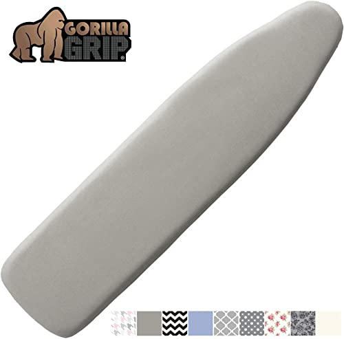 Gorilla Grip Reflective Silicone Ironing Board Cover, 15x54, Fits Large and Standard Boards, Pads Resist Scorching an...