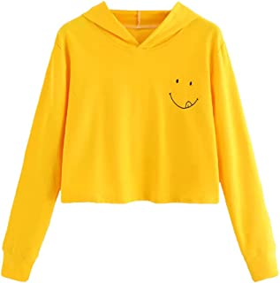 Women's Sweatshirt Pullover Long Sleeve Solid Color Smile Casual Hooded Pullover Crop Tops Outwear for Teen Girls