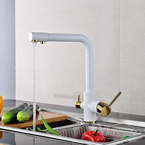 FYYONG Blanco Tres grifo de la cocina 360 ° Llave grifo de cobre doble Hermosa grifo práctica
