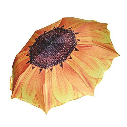 SODIAL(R) Einzigartige elegante Frauen Sonnenschutz Sonnenblume Super Block Sonne Regen Falten Regenschirm