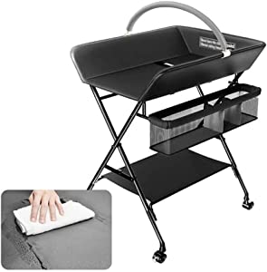 LNDDP Changing Table Foldable Baby Nursery Changing Station with Infant Storage Organizers Pad  amp  Steel Pipe Black