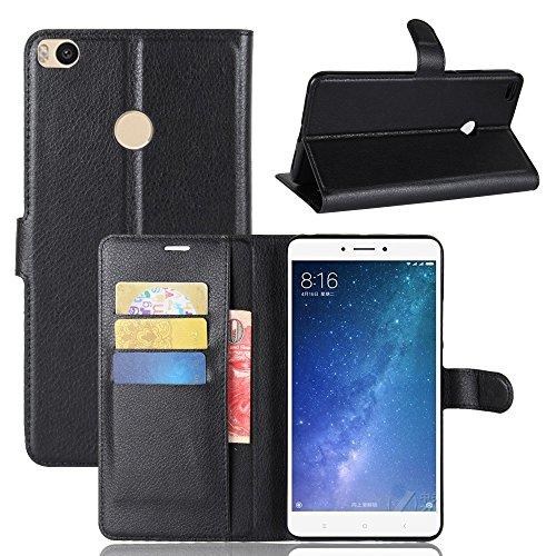 Capa Capinha Carteira Case 360 Para Xiaomi Mi Max 2 Tela De 6.44Couro Sintético Flip Wallet Para Cartão - Pronta Entrega (Preto)