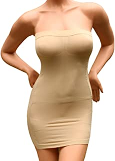 Andux Sexy Slimming Tube Top Stretch Strapless Slip Mini Dress SS-W03 Beige