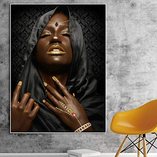 Yulernka Black Woman with Gold Necklace and Jewelry Poster and Print on Canvas Wall Art Painting Portrait Pictures for Home Decor 30x45cm