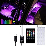 Striscia LED Auto -  Trongle Luci LED Interne per Auto con 48 LED RGB, 4 Barre Striscia LE...