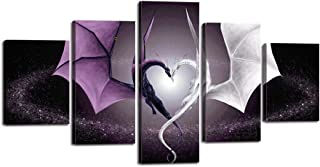 Yatsen Bridge 5 Panel Canvas Wall Art Decor Fantasy Scene Devil's Wing Prints Painting Creative Heart Shaped Dragon Poster Decorations Stretched and Framed Ready to Hang for Living Room (60''Wx32''H)