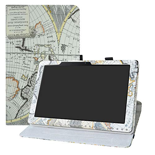 LFDZ Acer Iconia One 10 B3-A50 draaiende Hoesje,PU leren Flip Hoesje met 360 graden draaiende houder Hoes voor Acer Iconia One 10 B3-A50 10 Inch Tablet,Kaart Wit