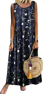 FSSE Women's Plus Size Sleeveless Print Summer Sundress Beach Party Maxi Dress