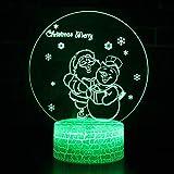 orangeww gift Santa Claus Snowman 3d Lamp- Remote 7 Color-Crack white- 7 Colors...