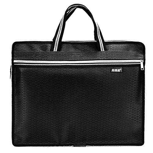 Zipper Business Document Bag | Men Mk Briefcessenger Worase with Waterproof Fabproof Fabric & Multi Purpose Usage for Storing Files Folder Document Notebooks Stationery Items for Meeting (Black)