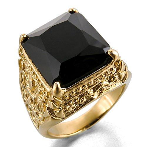 MunkiMix Acero Inoxidable Vidrio Glass Anillo Ring Oro Dorado Tono Negro La Flor De lis Dragón Garra Grabado Talla Tamaño 20 Hombre