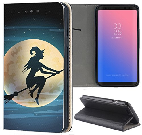 Samsung Galaxy S3 / S3 Neo Hülle Premium Smart Einseitig Flipcover Hülle Samsung S3 Neo Flip Hülle Handyhülle Samsung S3 Motiv (1508 Hexe Besen Halloween Mond)