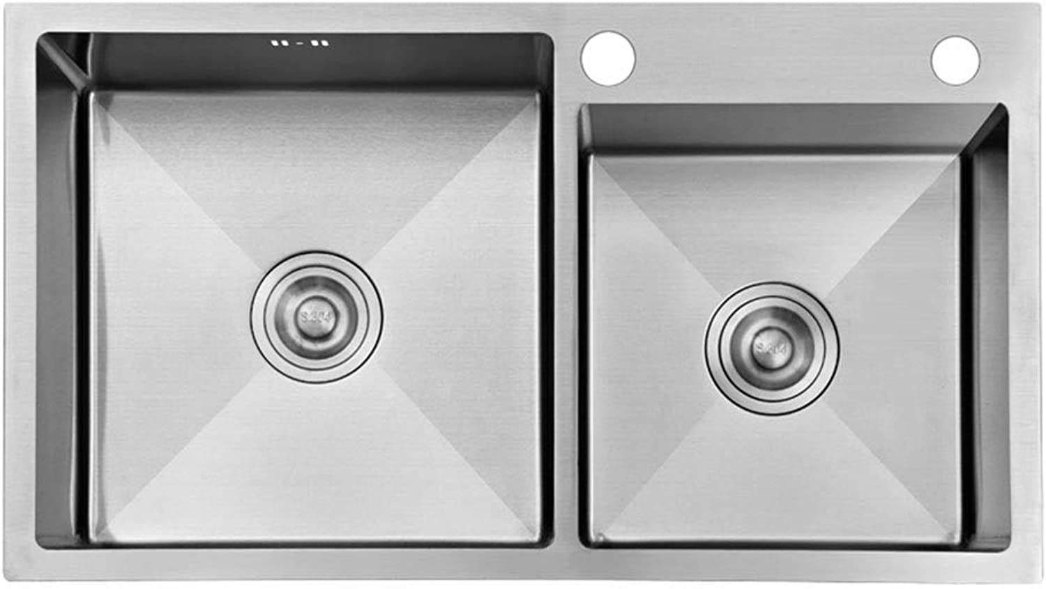 Wash Stands & Vanity Units Sink Stainless Steel Sink Manual Sink Double Sink Kitchen Sink Square Sink Dish Basin 4MM Thick Stainless Steel Sink Wash Basin (color   Silver, Size   78  43  22 cm)