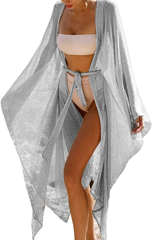 Opocos Print Beach Kimono Cardigans for Women Open Front Swimsuit Cover Up