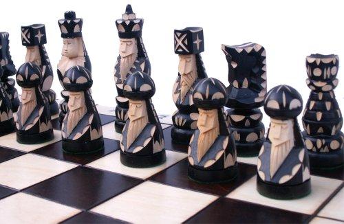 ChessEbook Edles Schachspiel POP 55 x 55 cm Holz, Handgeschnitzt