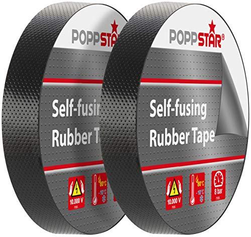 Poppstar 2x selbstverschweißendes Universal Isolierband und Dichtungsband, LxBxH 10m x 19mm x 0,76mm, schwarz