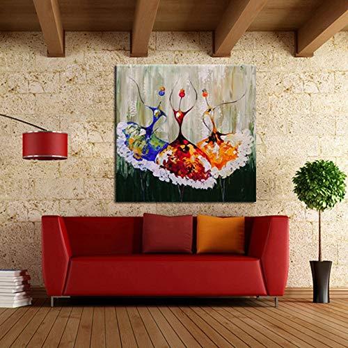 hetingyue Lienzo Pintura al óleo Bailarina de Ballet Chica Arte Abstracto Imagen Etiqueta de la Pared decoración de la habitación de los niños Arte Abstracto Pintura sin Marco 70x70 cm
