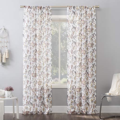 "No. 918 Sarita Floral Print Sheer Rod Pocket Curtain Panel, 51"" x 84"", Coral/Ivory Off-White"